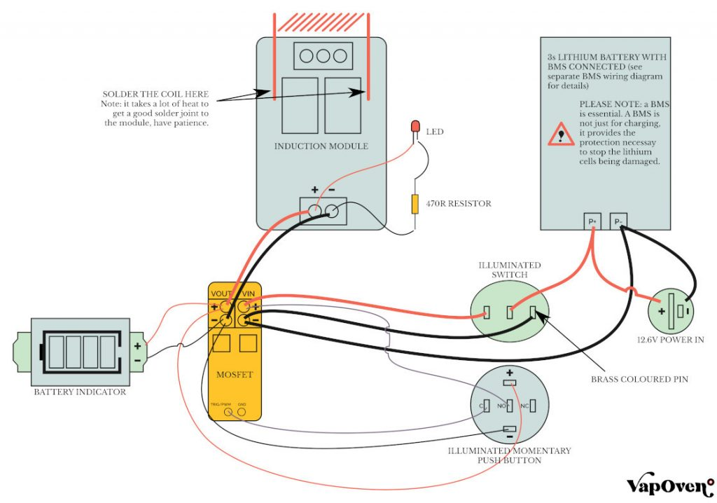 Battery Powered Induction Heater (Deluxe) Wiring Diagram
